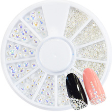 1pcs White AB  Crystal Pearl Nail Rhinestones Mix 1.5/2/2.5/4mm Flat Bottom 3D Decoration in Wheel Nail Art Manicure Tips TR251