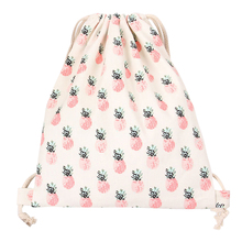 PHFU Cotton Travelling Drawstring Storage Bag Shoe Bag Backpack Pineapple