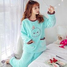 Winter new Pajamas sets Women Warm Flannel Thickening nightclothes cute ladies  Pyjamas Sleepwear Suit casual Large size homewear 023b3f1d7