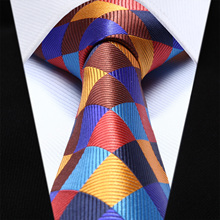 TC703N8 Orange Blue Brown Check 3.4'' Silk Jacquard Woven Mens Ties Necktie Party Wedding Tie(China)