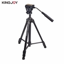 Kingjoy 166cm/5.4ft Video Camera Tripod 3 Section Flip Lock Video Tripod With Fluid Damping Head For Camcorder(China)