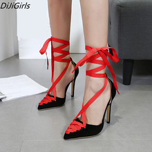 DiJiGirls new designer brand lace-up high heels shoes women Gladiator pointed toe Bandage pumps ladies party red prom shoes 40(China)
