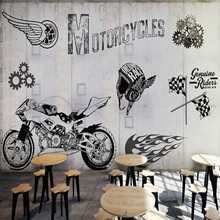 3d custom motorcycle industry metal gray wall graffiti 3D wallpaper murals 3D wallpaper auto repair shop Restaurant Lounge Bar