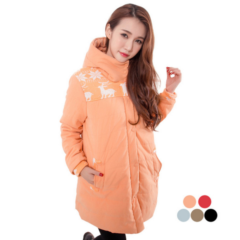 2015 new snow deer printed winter coats jacket clothes for pregnant women pregnancy plus size XXL casual clothing outwear C45<br>