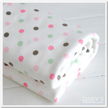 Printed dots 100% cotton knitting jersey fabric DIY baby bibs bed sheet cotton fabric 50*170cm(China)