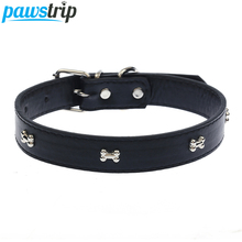 5 Colors Bone Pet Dog Collar Durable PU Leather Adjustable Puppy Cat Strap Collar XS/S/M/L(China)