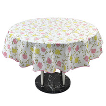 Water Resistant Oil-Proof Tablecloth Home Picnic Round Flower Pattern Table Cloth Cover 60 Inch