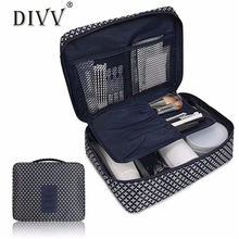 DIVV organizer Canvas Cosmetic Makeup Bag Toiletry Travel Kit Storage Box Organizer Neceser Wash pouch beauty Case