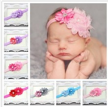 Free shipping Retail Newborn Kids satin flower headband Newborn Kids girls hairband girl's Felt Flower headbands A075(China)