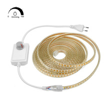 Dimmable Super Bright LED Strip light 2835 120LEDs/m AC220V Outdoor Waterproof LED Tape String Decor With EU Power Supply Dimmer(China)