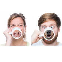 New Creative Pig Dog Nose Mug Bottom Water Coffee Milk Cup Ceramic Nose Piggy Doggy Funny Tea Drinking Kettle Home Office Mugs