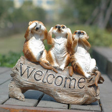 no say/talk/hear garden mongoose figurine creative welcome boards gardening decorations and ornaments outdoor