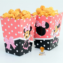 6pcs/lot Minnie Mouse Kids Party Supplies Popcorn Box case Gift Box Favor Accessory Birthday Party Supplies AW-0555