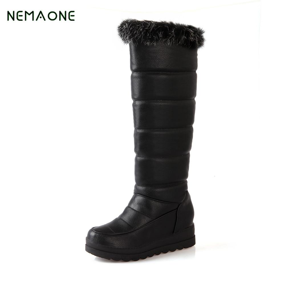 NEMAONE 2017 New Women Snow Boots Shearling Fur Platform Knee-High Boots Fur Snow Boots Autumn Winter Women Shoes<br>