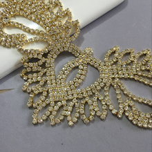 20X10cm Rhinestone wings Applique  1pcs silver base  sew on  applique  use for wedding dress ornament Free shipping