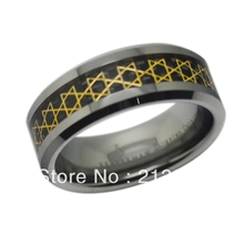 Jewelry USA Brazil Russia HOT Selling 8MM Mens Black Fiber Golden David Star Tungsten Wedding Ring - Top Fine World ( and retail jewelry store store)