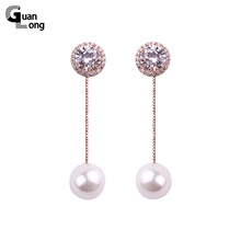 2017 New Fashion Jewelry Pearl Earrings CZ Rose Gold White Gold Cute Earrings For Women(China)