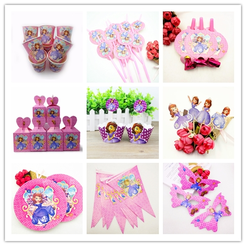 DISNEY Sofia Princess Snow Queen Movie Baby Birthday Party Decorations Kids Girl Supplies Decoration Tableware Set