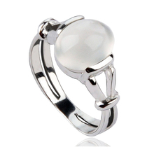 Ladies Girls Beautiful Imitation Moonstone Ring Classic Wedding Engagement Band Ring(China)