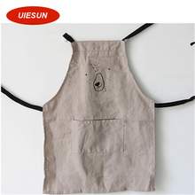 M&L Sizes Waterproof Japanese Style Princess Apron Pure Cotton Cute Bear Dog Solid Color Cooking Kitchen Apron for Gift UIE679(China)