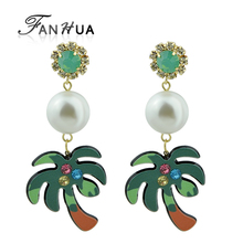FANHUA Green Brown Color Acrylic Coconut Tree With Colorful Rhinestone Brincos Simulated-pearl Drop Earrings For Women