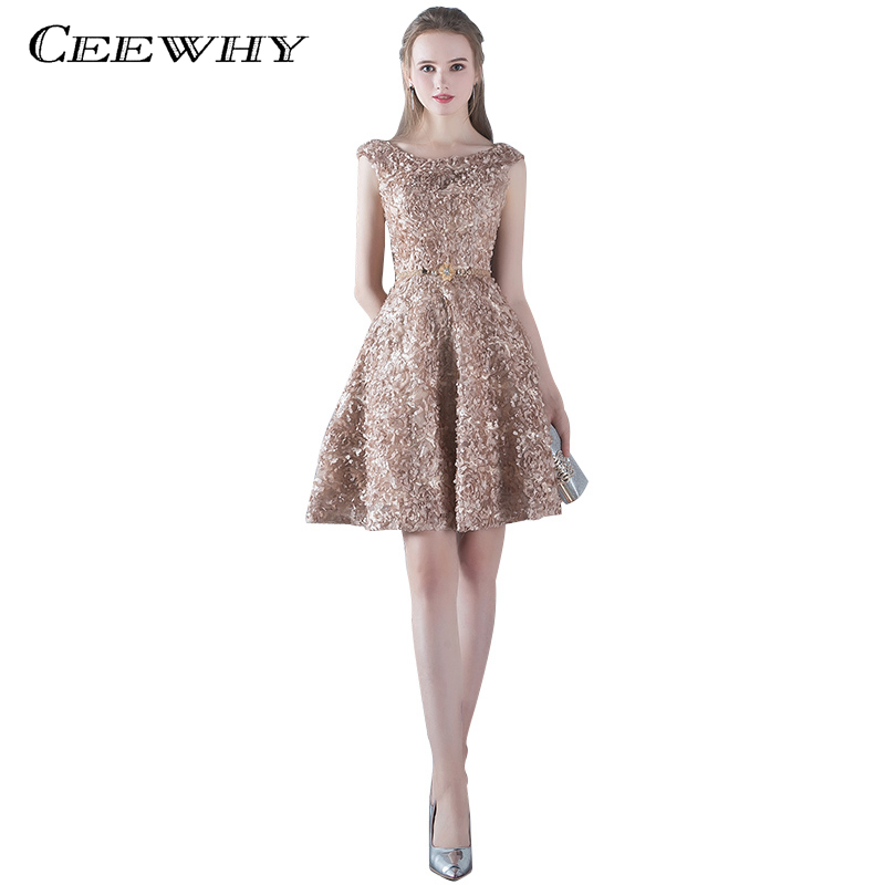 CEEWHY Appliques Robe Cocktail Party Dress 2018 Elegant Backless Short Cocktail Dresses Adjustable Lace Up Back Prom Dress