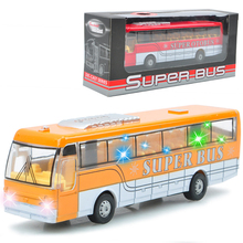 Music and light car toys Alloy Diecast car model Pull Back Public Bus school bus toys Car vehicles kids boy toys brinquedos(China)