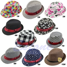 Baby Kids Children Trilby Toddler Boys Girls Fedora Jazz Hat Outdoor Cotton Cap -B116(China)