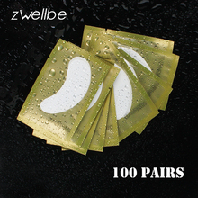 zwellbe 100pairs/pack New Paper Patches Eyelash Under Eye Pads Lash Eyelash Extension Paper Patches Eye Tips Sticker Wraps Tools