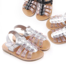 Summer New Collection Girls Sandals Baby Shoes Soft Rubber Sole Antislip Infant Shoes Sliver/Black 11/12/13cm