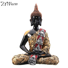 "KiWarm 11"" 30cm Thai Buddha Meditating Peace Harmony Sitting Statue Feng Shui Ornaments For Home Offfice Desk Decoration Crafts(China)"