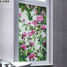 frosted decorative window privacy film 45x100cm pvc Self adhesive 3D tint flower print static window sticker Hsxuan brand 453103