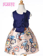 Retail Dark Blue Floral Dress For Kid Girl Girl Party Dress First Communion Dresses For Girls L-94