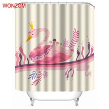 WONZOM 1Pcs Pink Swan Waterproof Shower Curtain Deer Bathroom Decor Cat Decoration Cortina De Bano 2017 Bath Curtain Gift