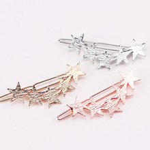 1PC New Fashion Alloy Stars Barrettes Women Vintage Hair Clips Silver Gold Hairpins Hairgrips Girls Hair Accessories For Lady(China)