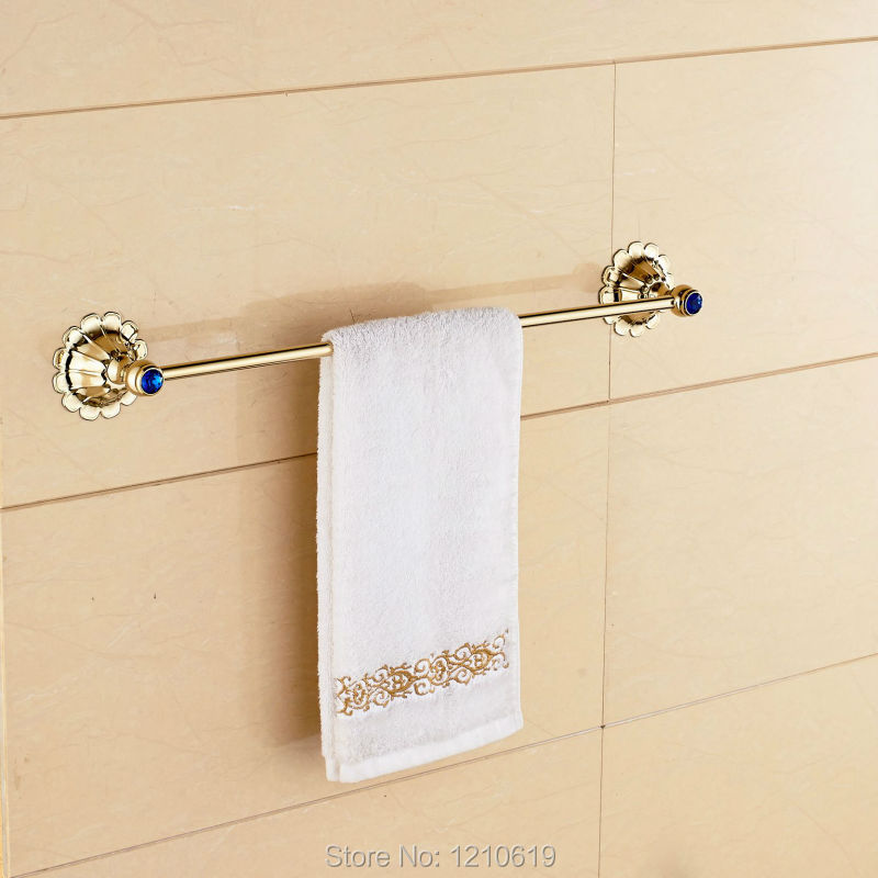 Newly Blue Crystal Bath Towel Bar Holder Gold Plate Luxury Towel Rail Towel Rack Shelf Wall Mounted<br><br>Aliexpress