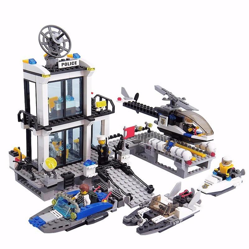 KAZI 6726 Police Station Building Blocks Helicopter Boat Model Bricks Toys Compatible LegoINGlys Blocks Toys For Children Gift 1