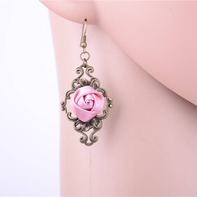 Vintage Drop Earring Women Rose Flower Earrings Gothic Hollow Dangle Statement Royal Female Jewelry Accessories(China)
