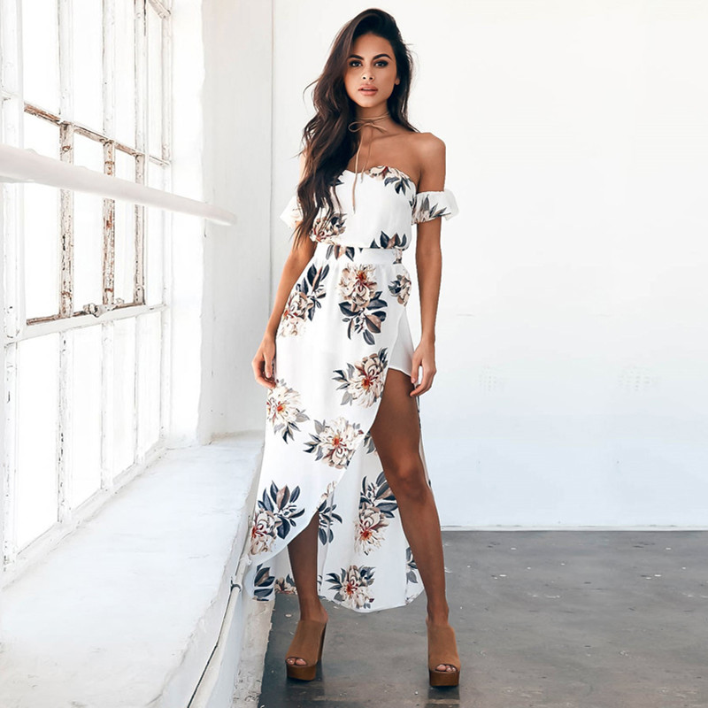 Robe White Floral Maxi Long Dress Women Summer 2017 Boho Strapless Sexy Beach Split Party Dresses Ladie Female Vestidos Sarafan(China (Mainland))