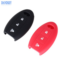 Dandkey Silicone Key Case Cover For Infiniti G25 FX35 EX25 QX56 FX37 M35 M37 Infiniti Remote Key Case 3 Buttons Smart Key