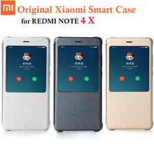 100% Original Xiaomi Redmi Note 4x Case PU leather Smart flip Case for Xiaomi redmi note 4x 4 X Cover ,Genuine xiaomi brand