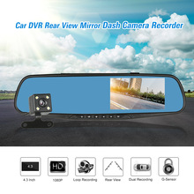 FHD 1080P 4.3'' Dual Lens Car DVR Rear View Mirror Dash Cam Video Camera Recorder(China)
