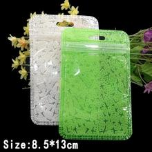 Size: 8.5*13cm Clear white/Green oneside Non-woven bag for zipper retail package PP bag,USB data cable packaging hang hole bags