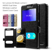 Fashion New phone Bag For Lenovo A 6000, Silk Texture For Lenovo K3 Music Lemon / A6000 Dual View Windows PU Stand Cover-5.0inch