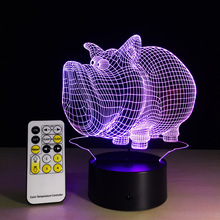 colorful pig 3d LED Night Lights 5V USB Creative Small Acrylic led table Lamp Touch Remote