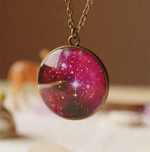 Sparkling Glass Galaxy Necklace Pendant Milky Way Handmade Photo Glass Cabochon Long Necklaces Fashion Costume Jewellery XL037