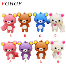 FGHGF Lovely Pen drive Rilakkuma Bear Style USB flash drive Pen stick memory card U disk pendrive 4GB 8GB 16GB 32GB