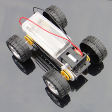 F17924 Self assembly DIY Mini Battery Powered Metal Car Model Kit 12*8cm 4WD Smart Robot Car Tank Chassis RC Toy(China)