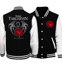 Game of Thrones Targaryen Fire & Blood Jacket For Men 2017 Hot Spring Baseball Uniform Jackets Hip Hop Coat Fashion Hoodies Men