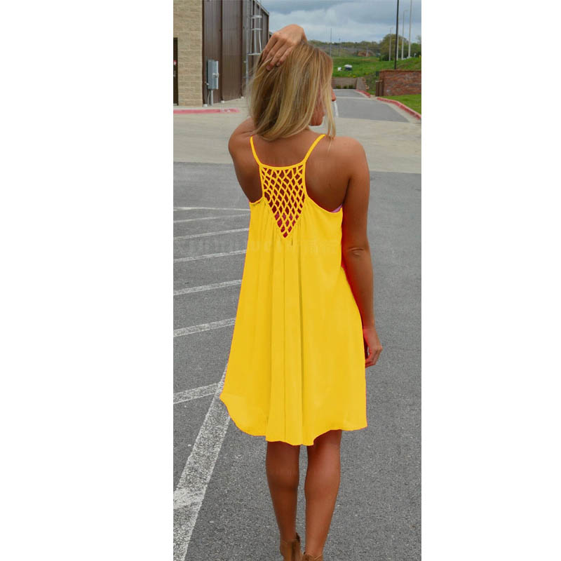 Vestidos 2017 New Spaghetti Strap Beach Dress Sleeveless Fluorescence summer dress Chiffon Casual Loose female Short Dress 13